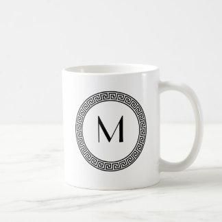 Greek Key Design Monogram Coffee Mug