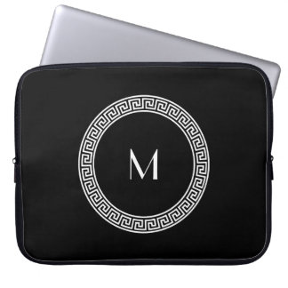 Greek Key Design Monogram Laptop Sleeve