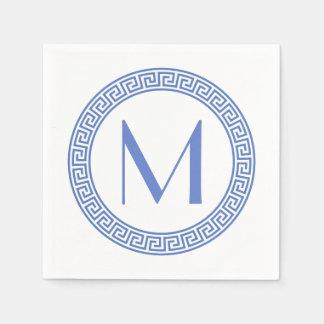 Greek Key Design Monogram Paper Napkin