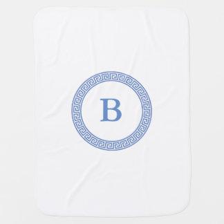 Greek Key Design Monogram Stroller Blanket