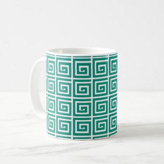 Greek Key design - teal and white Coffee Mug
