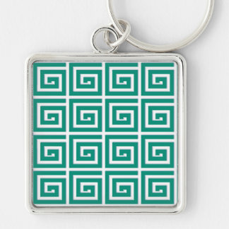 Greek Key design - teal and white enamel look Keychain