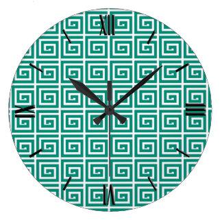 Greek Key design - teal and white Large Clock
