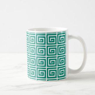 Greek Key design - teal and white Classic White Coffee Mug