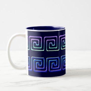Coffee Themed Greek Key Design Vintage Art Coffee Mug