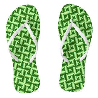 Greek Key, emerald green and lime Flip Flops