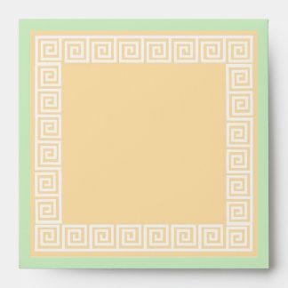 Greek Key Green Envelope