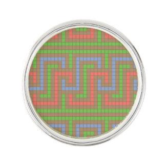 Greek Key in Rose, Green, Blue, Brown Lapel Pin