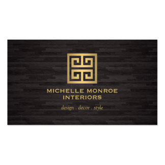 Greek Key Interior Designer Woodgrain Effect Double-Sided Standard Business Cards (Pack Of 100)