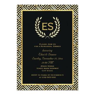 Greek key & laurel wreath wedding rehearsal dinner 5x7 paper invitation card