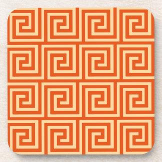 Greek Key, mandarin orange Beverage Coaster
