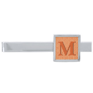 Greek Key, mandarin orange Silver Finish Tie Clip