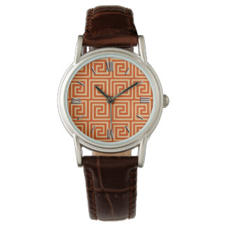 Greek Key, mandarin orange Wristwatch