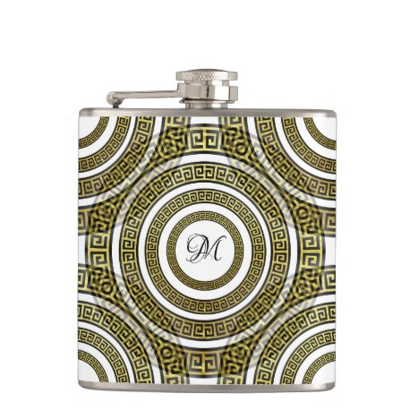 Greek Key Meander in Geometric Symmetry Monogram Flask