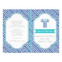 Greek key pattern and blue column wedding program