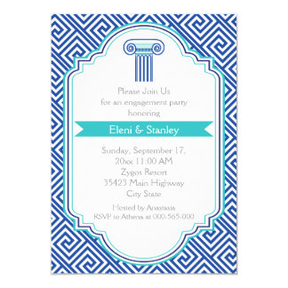 Greek key pattern & blue column engagement party card