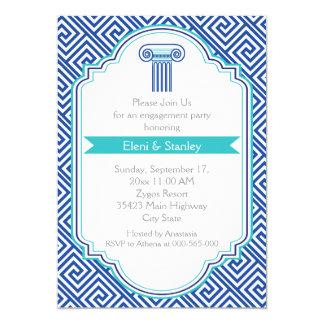 Greek key pattern & blue column engagement party 5x7 paper invitation card
