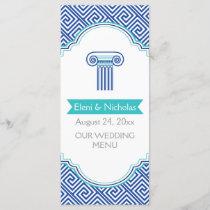 Greek key pattern & blue column wedding menu card