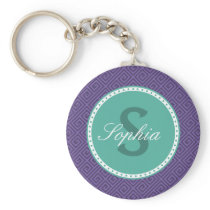 Greek Key Pattern Monogram Keychain