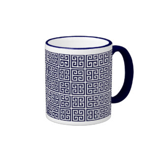 greek key pattern ringer coffee mug