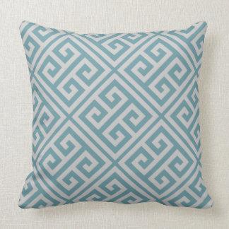 Greek Key Pattern Pillow Dusky Blue & Gray