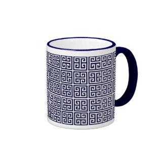 greek key pattern ringer mug