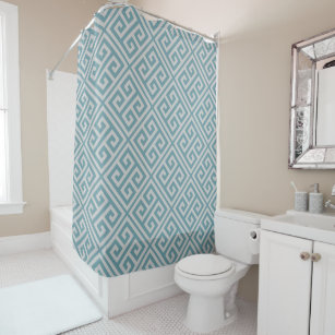 Greek Key Pattern Shower Curtain Dusky Blue Gray