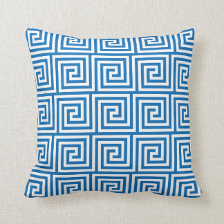 Greek Key Pillow in Dazzling Blue