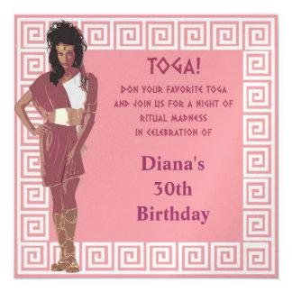 Greek Key Pink 5.25x5.25 Square Paper Invitation Card