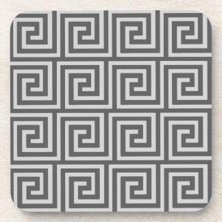 Greek Key, shades of grey / gray Drink Coaster