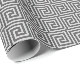 Greek Key, shades of grey / gray Wrapping Paper