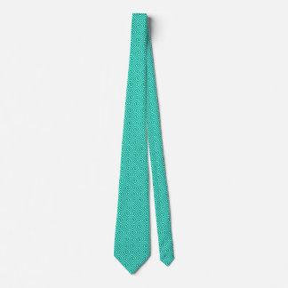 Greek Key, turquoise and aqua Tie