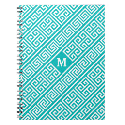 Greek Key Turquoise/White Notebook
