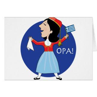Greek Lady Dancing Greeting Cards