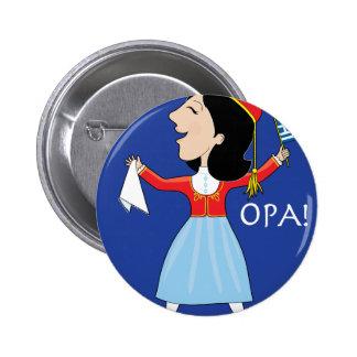 Greek Lady Dancing Pinback Button