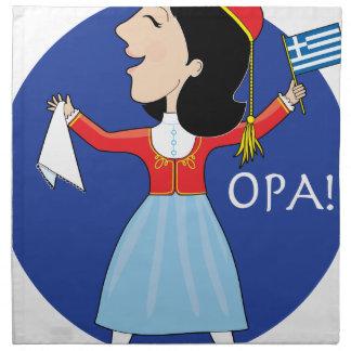Greek Lady Dancing Printed Napkin