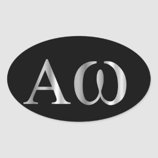 Greek Letter- Alpha and Omega Oval Sticker