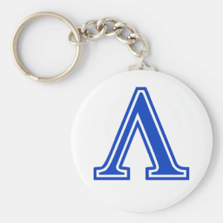 Greek Letter Lambda Blue Monogram Initial Keychains