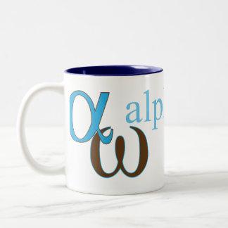 Greek letter mug: Alpha and Omega Two-Tone Coffee Mug