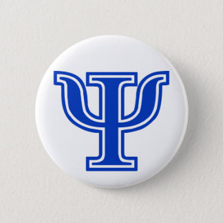 Greek Letter Psi Blue Monogram Initial Button