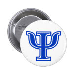 Greek Letter Psi Blue Monogram Initial 2 Inch Round Button
