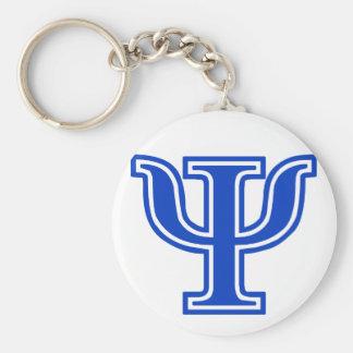 Greek Letter Psi Blue Monogram Initial Keychain