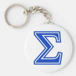 Greek Letter Sigma Blue Monogram Initial Keychains