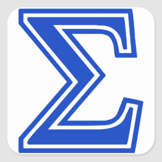 Greek Letter Sigma Blue Monogram Initial Square Sticker