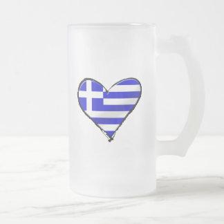 Greek love - I love Greece flag love heart Frosted Glass Beer Mug