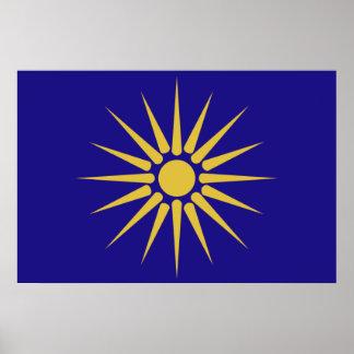 Greek Macedonia, Greece flag Print
