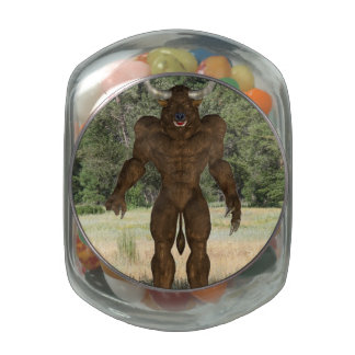 Greek Minotaur Glass Candy Jar