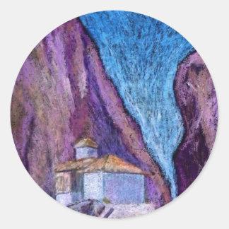 Greek Monastery Classic Round Sticker