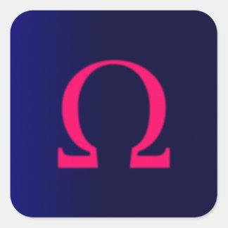 Greek Omega in Pink #3 Square Sticker