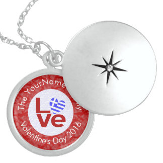 Greek or Hellenic LOVE White on Red Sterling Silver Necklace